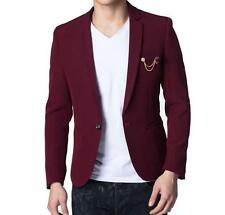 New Fashion Mens Wine Red Casual Slim Fit One Button Suit Blazer Jacket Outwear