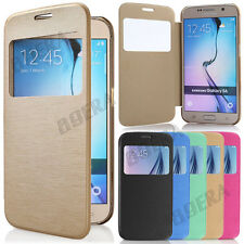 New Flip Leather S-View Window Skin Folio Case Cover for Samsung Galaxy Phones