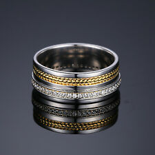 JewelryPalace Wedding Band Ring CZ 925 Sterling Silver 18k Gold Plated Two-Tone