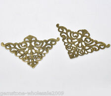 Wholesale Lots Craft Bronze Tone Filigree Triangle Wraps Connectors Findings