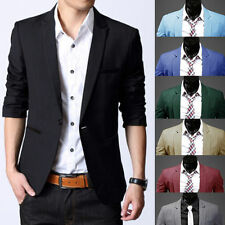 Trendy Men Long Sleeve Slim Fit One Button Casual Suit Blazer Pocket Coat Jacket