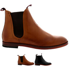 Mens H By Hudson Tamper Smart Elastic Shoes Flat Leather Chelsea Boots All Sizes