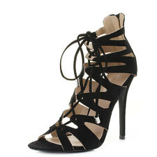 Womens High Heel Strappy Caged Lace Up Party Gladiator Stiletto Shoes SZ SIZE