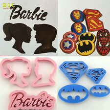 Barbie /Batman & Superman Cookie Cutter Biscuit Molds 4 Set Christmas Gift H3009