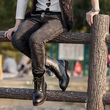 Retro Combat Martin Boots England-Style Fashionable Men's Short Black Shoes Gift