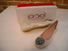 POE Carin Pink Iridescent Leather Beaded Ballet Flat NEW