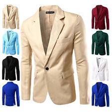 New Stylish Men's Casual Slim Fit One Button Suit Blazer Solid Coat Jacket Tops