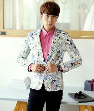 Fashion Men's Stylish Floral Print Slim Fit Casual one button Blazer Coat Jacket