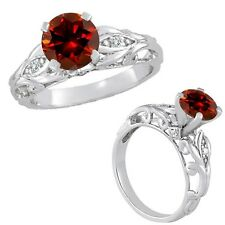 1 Carat Red Diamond Designer Solitaire Anniversary Bridal Ring 14K White Gold