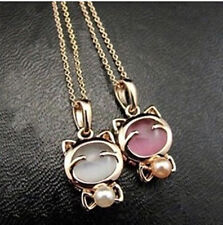 Hellokitty Jewelry Cute Pearl Stone Pendant Chain Necklace  Ring Earrings KT73A