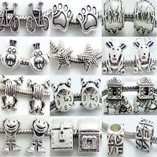 10PCS Tibet Silver Rondelle MURANO STYLE Spacer Charms Beads Jewelry Accessories