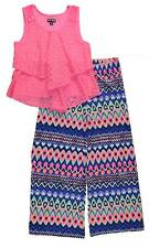 Pogo Club Girls Lace Tank 2pc Printed Flare Pant Set Size 4 5/6 6X 7/8 $40