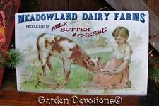 MEADOWLAND DAIRY FARMS METAL SIGN Dairy Milk Butter Cheese Cow