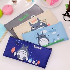 Cartoon Cat Totoro Canvas Pencil Pen Case Pouch Cosmetic Makeup Organizer Bag J