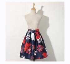 Mode European Womens A-line High Waist Pleated Skirt Flower Pattern Swing Skirt