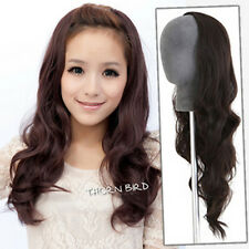 Clip In Women Synthetic Long 3/4 Curly Wave Half Lace Front Wig U Part Hairpiece