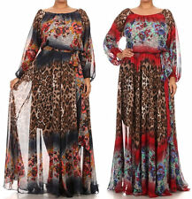 Plus Floral Leopard On Off Shoulder Chiffon Boho Maxi Dress Full Sweep Skirt