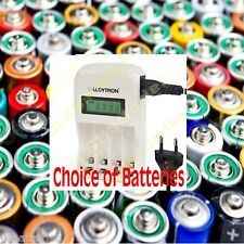 LLOYTRON EU PLUG 1 hour Fast LCD Battery Charger AA or AAA ENERGIZER DURACELL GP