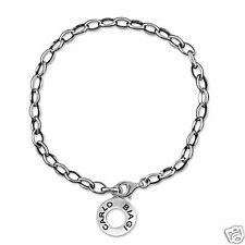 Carlo Biagi Sterling Silver Charm Bracelet Oval Link Chain Gift for Wife