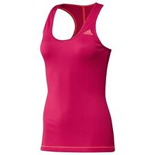 NEW WOMENS ADIDAS Too PERFECT RIB TENNIS RUNNING CLIMALITE WORKOUT TANK TOP PINK