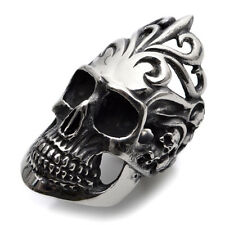 Stainless Steel Cool HUGE Silver Skull Mens Ring Size 8 9 10 11 12 R361
