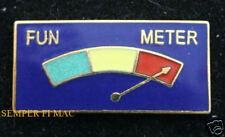 FUN METER PIN UP HAT LAPEL TIE TAC PATCH US MARINES NAVY ARMY AIR FORCE USCG WOW