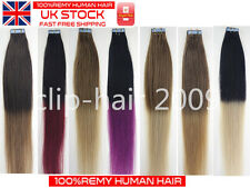 16''-24'' Tape In Indian Remy Human Hair Extensions Dip Dye Ombre Natural UK 5A