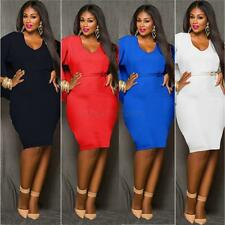 Sexy Women  Bodycon Formal Dress Evening Batwing Sleeve Plus Size Stretch A82