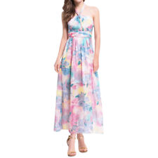 Women Halter Neck Waist String Floral Prints Maxi Dress