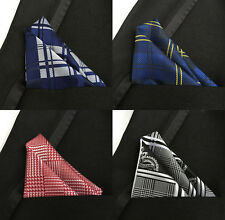 Plaids & Checks Handkerchiefs Men's Pocket Square Silk Hankie For Suit Wedding