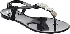 Rsb Sunny Girl's Black Adjustable Toe Post Ankle Strap Open Toe Sandals New