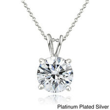 Icz Stonez Platinum Plated Sterling Silver 2ct TGW 100 Facets Cubic Zirconia Nec