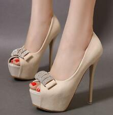 Stylish Womens Stiletto Heels Platform Open Toe Sweet Bowknot Party Sexy Shoes