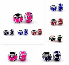 5pcs CRYSTALSILVER SPACER BEADS FIT European Beads Charm Bracelet