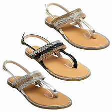 WOMENS FLAT SANDALS DIAMANTE LADIES SLINGBACK HOLIDAY CASUAL PARTY SUMMER SHOES