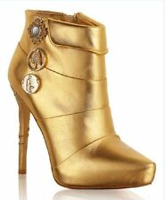 Gold Ankle Boots 41 38 5 7 Anna Dello Russo for H&M BNIB BNWT New in Box Tags