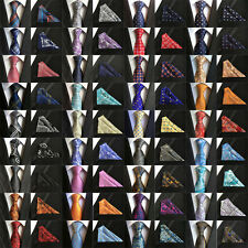 48 Colors Mens ties Silk & Pocket Square Handkerchief SET Italy Paisley Wedding