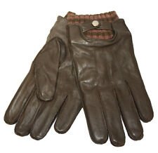 Mens Soft Leather Strap & Knitted Cuff Warm Winter Dress Gloves S/M Dark Brown