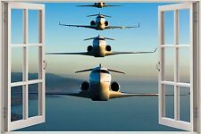 Huge 3D Window Army Fighters Planes View Wall Sticker Decal Wallpaper Mural 909