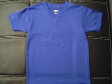 3 NEW SHAKA KIDS PLAIN V-NECK T-SHIRT ROYAL BLUE BLANK S-XL 3PC