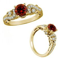 1 Carat Red Color Diamond Engagement Wedding Bridal Fancy Ring 14K Yellow Gold
