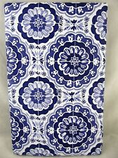 Assorted Sizes Blue Paisley Medallion Umbrella Hole Zippered Vinyl Tablecloth