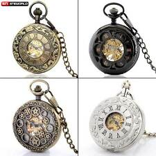 Antique Steampunk Skeleton Mechanical Pocket Watch Pendant Chain Gift Retro New