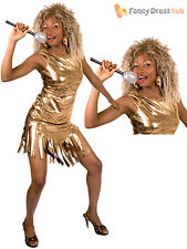 Ladies Tina Turner Costume Adults 1980s Pop Star Fancy Dress Rock Queen Outfit
