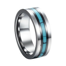 8MM Stunning Tungsten Blue Turquoise Ceramic Inlaid Wedding Band Ring Men Women