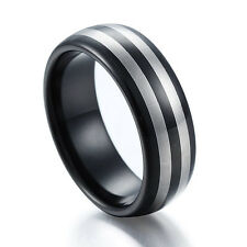 Domed Stripe Black Tungsten Carbide Ring Men's Engagement Wedding Band Size 6-12