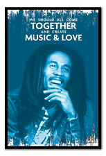 Framed Bob Marley Music & Love Poster Ready To Hang - Choice Of Frame Colours