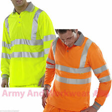 Long Full Sleeved Polo Collar Shirt Hi Viz Mens Reflective Work Safety Top EN471
