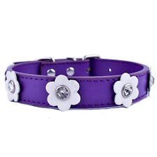 Rhinestone Dog Collar Leather Flowers Studded Adjustable SZ S M Pet Supplies Red