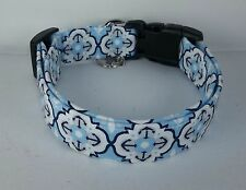 Nautical Terri's Dog Collar custom made adjustable navy blue quatrefoil charming